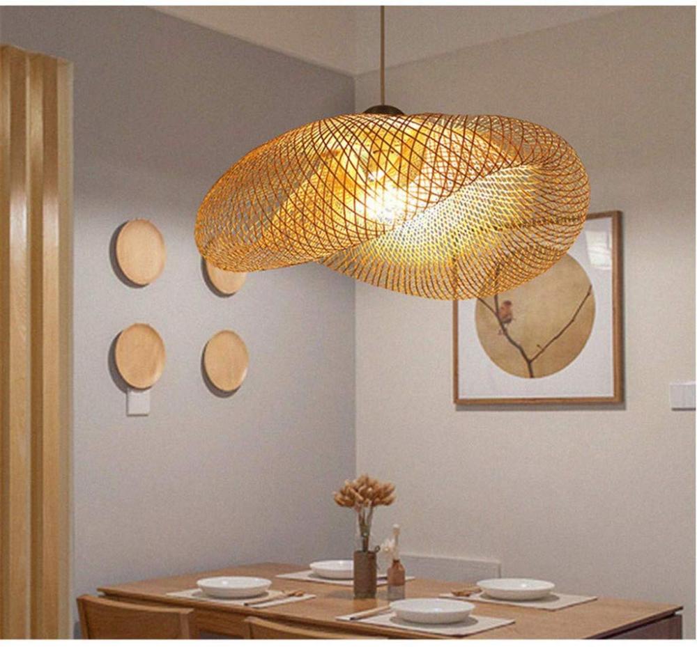 Lampes suspendues tissées en bambou naturel vintage et