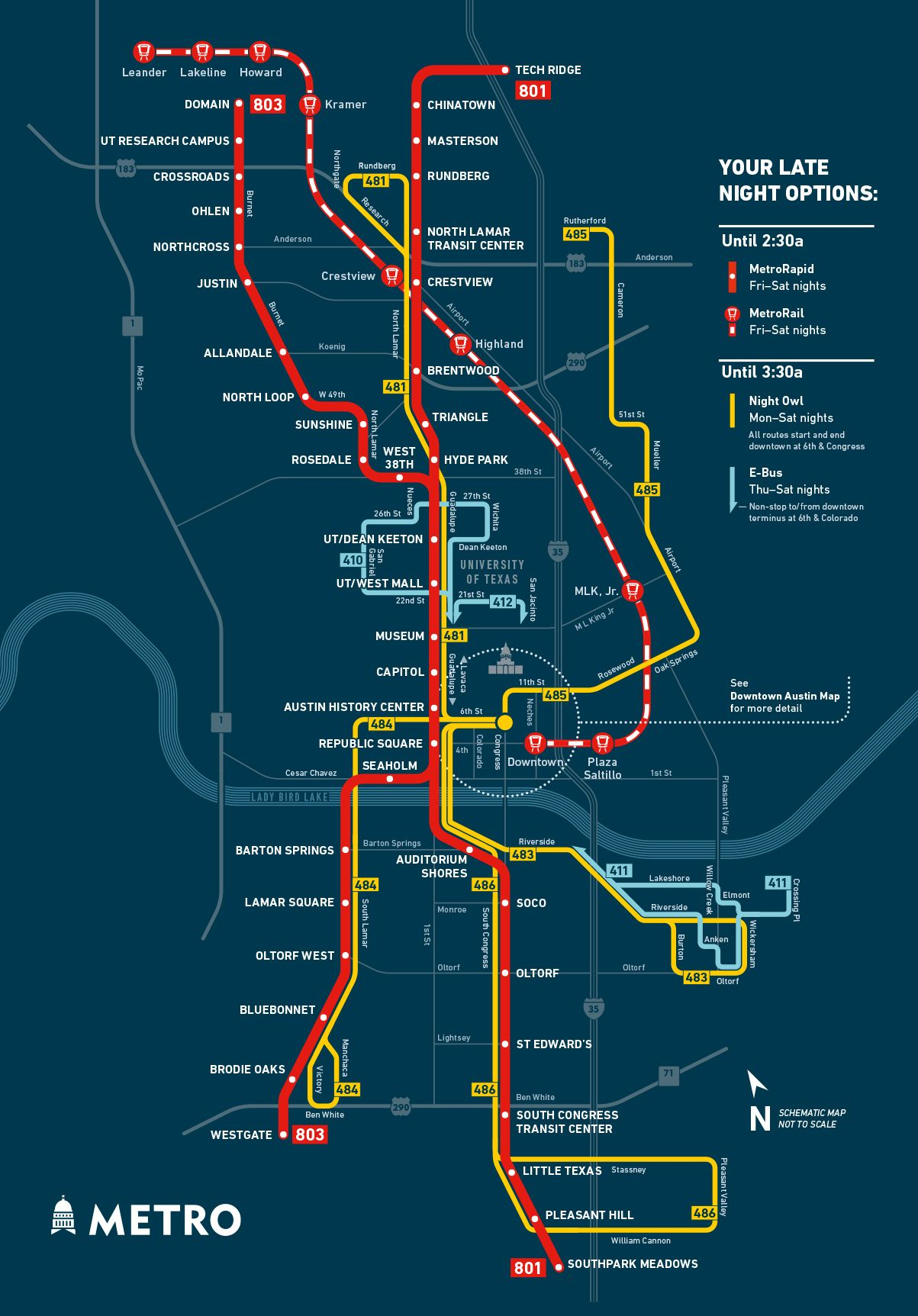 owl service transit map | austin cap metro | big board of maps