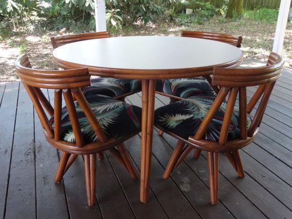 Vintage Mid Century Modern Vogue Rattan Round Table U0026 4 Swivel Chairs Set  With 1960u0027s Vintage