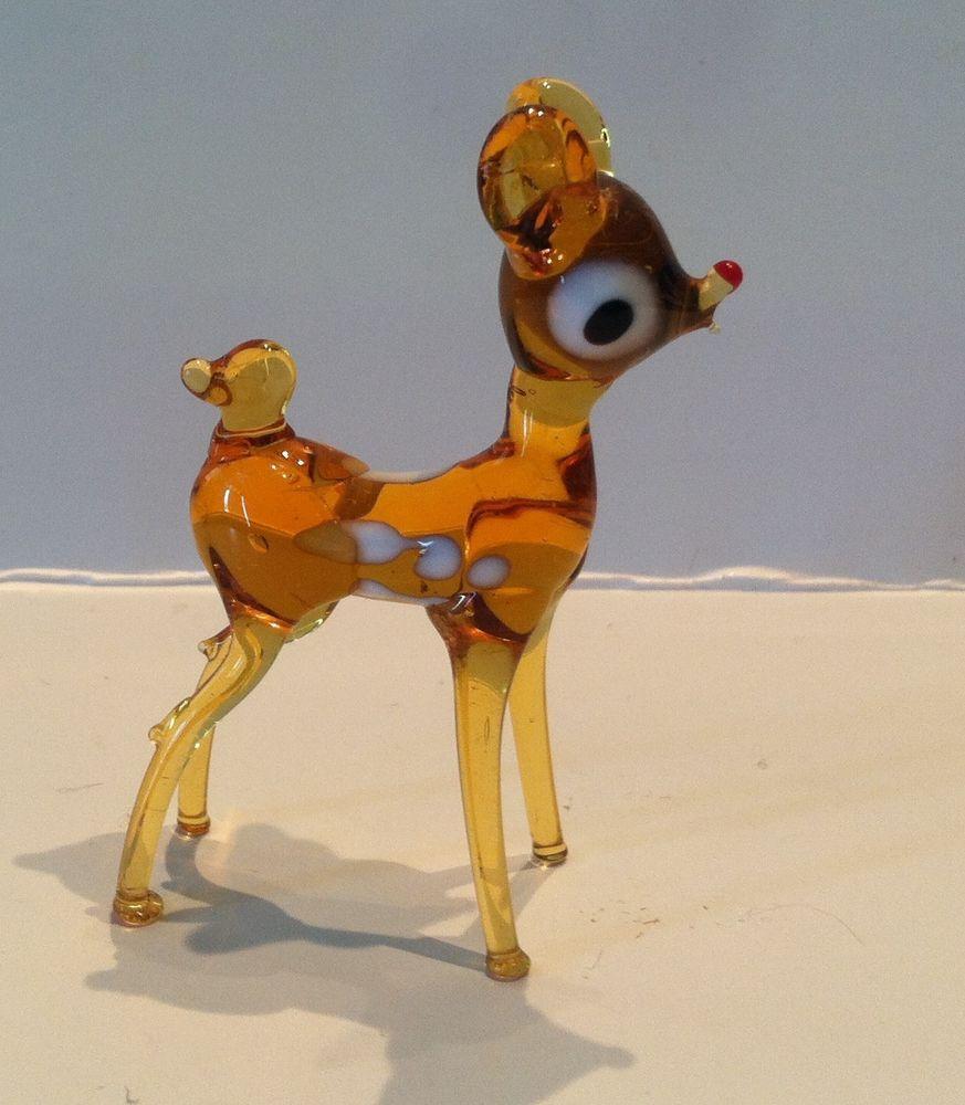 Vintage Murano Blown Art Glass Miniature Deer Bambi Figurine Collectible Animais De Vidro Animais Vidro