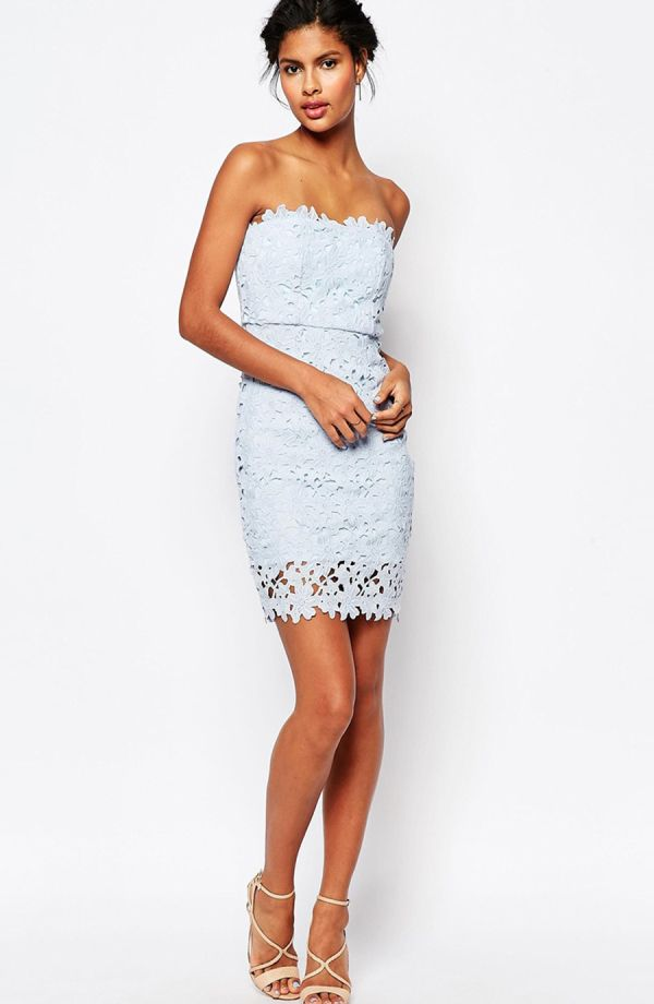 Wyldr lace bandeau mini bodycon dress in pale blue: http://www.stylemepretty.com/2016/03/22/lace-dresses-perfect-for-spring/