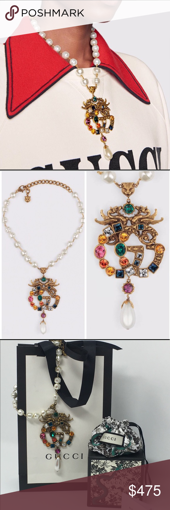 c2aa2ed9830 GUCCI GG jeweled pendant   pearl necklace New for Gucci s Spring Summer 2018  collection! The archival Double G is studded with multicolored jewel-toned  ...
