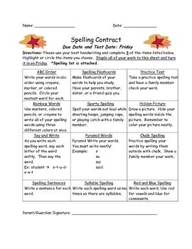 these spelling contracts will motivate your students by making spelling homework fun students. Black Bedroom Furniture Sets. Home Design Ideas