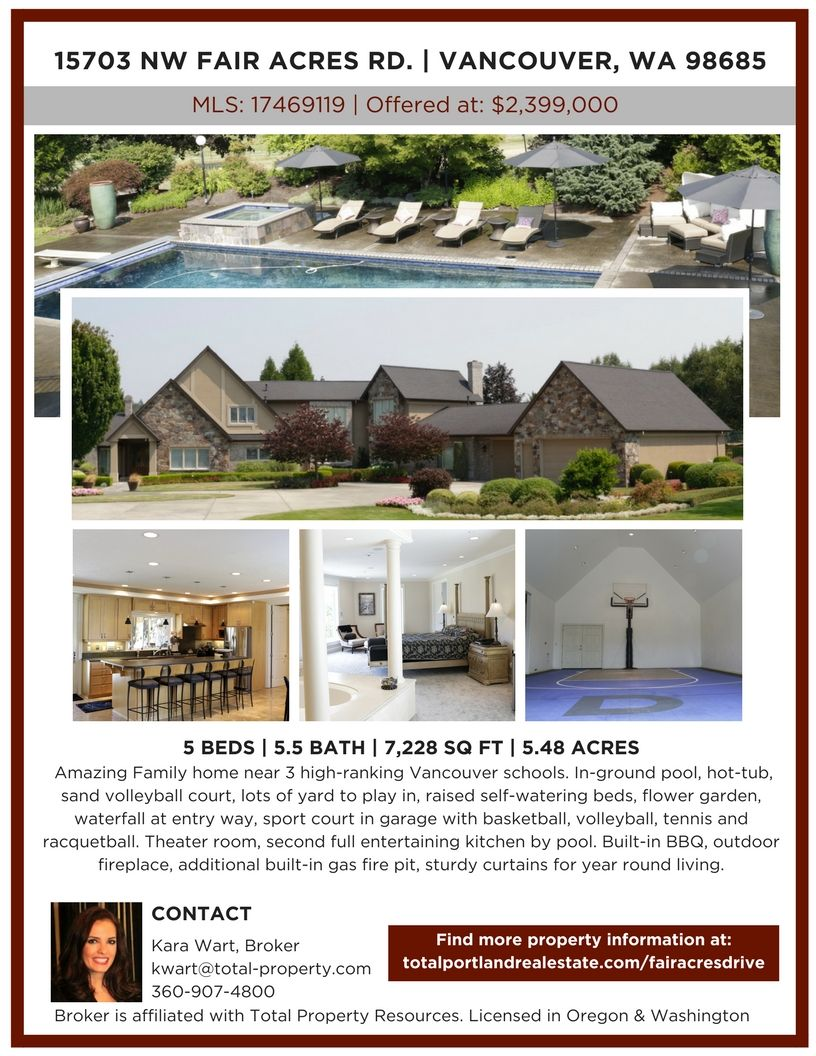 Luxury Home In Vancouver Wa Total Property Resources Vancouver Wa Real Estate In Ground Pools Sand Volleyball Court House Styles