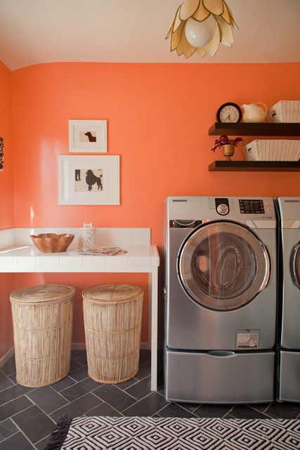 5 Fresh Clean And Spring Worthy Bathroom Colors: Great Laundry Room, Dark Tiles Are Practical Too