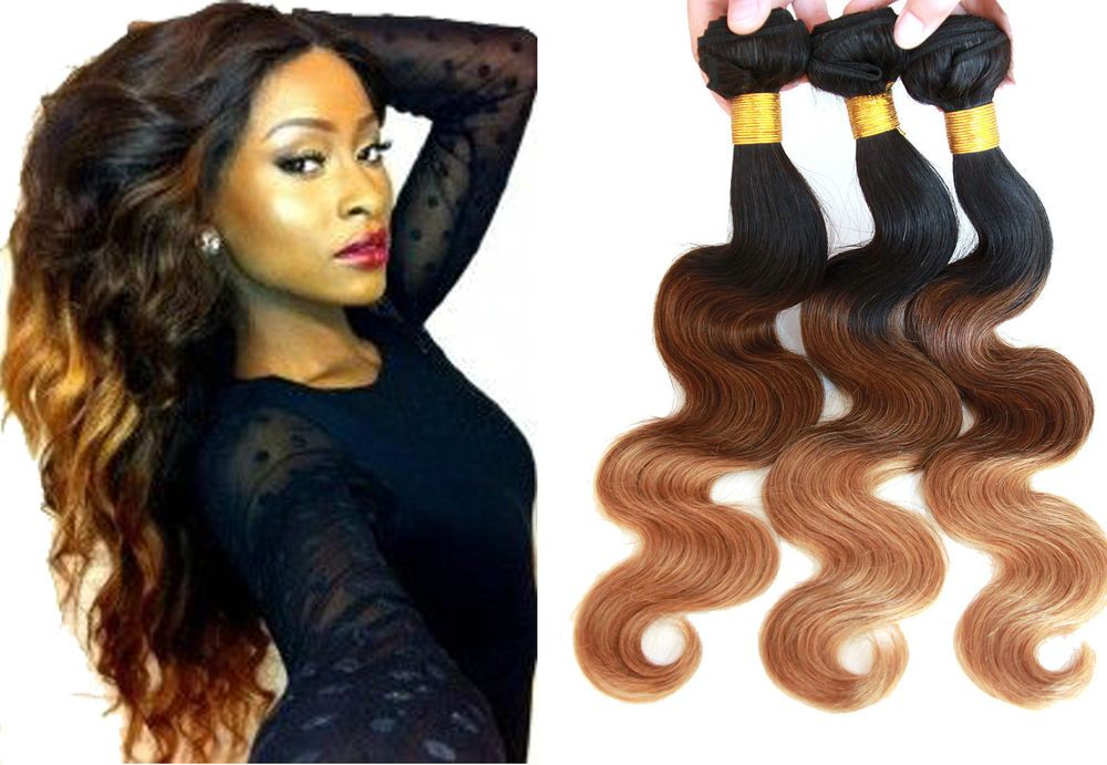 "Hot 3Bundles Human Hair Extension 12""14""16""Body Wave Ombre Hair US hOT Remy Hair #WIGISS #HairExtension"