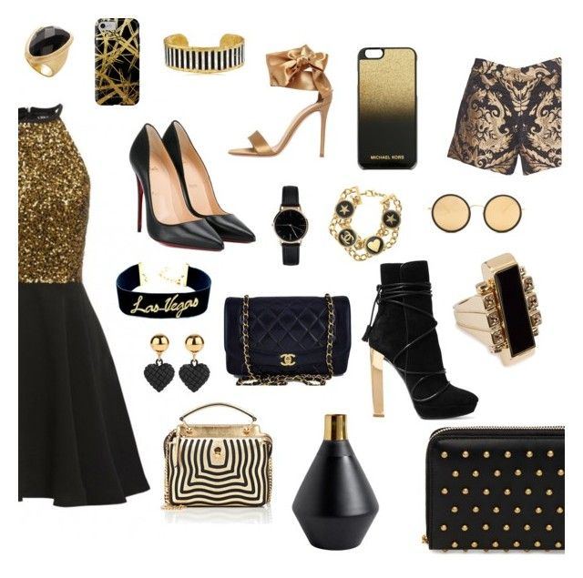 """""""Black and gold🖤💛"""" by xxflowersxx ❤ liked on Polyvore featuring Christian Louboutin, Gianvito Rossi, Alice + Olivia, Freedom To Exist, Chanel, MICHAEL Michael Kors, Rivka Friedman, Évocateur, Khristian Howell and Child Of Wild"""