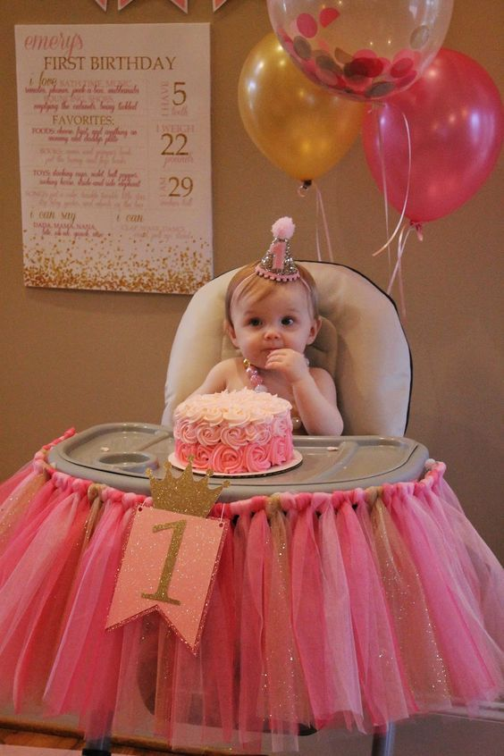 pink and gold high chair tutu, pink and gold first birthday: