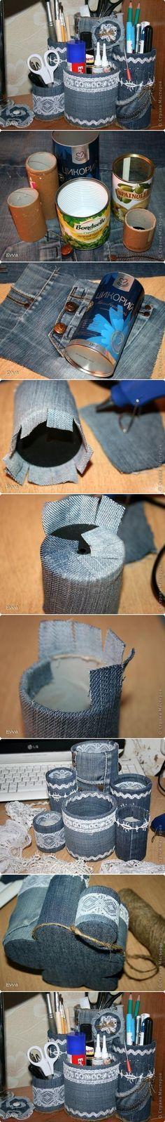 Utensilienbehälter Dosen Jeans