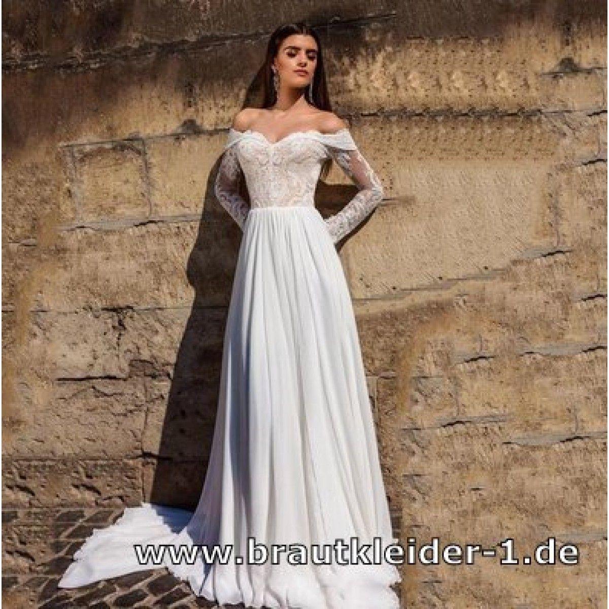 Schulterfreies Empire Chiffon Kleid für den Standesamt ...