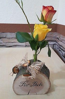 Holzvase Vase Baumscheibe Eiche Deko Holz Natur Tischdeko Geschenk Frühling #florists