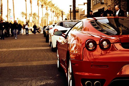 Line of Italian peformance. Red 430, white 458, and a gray Gallardo or Murcielago(?)