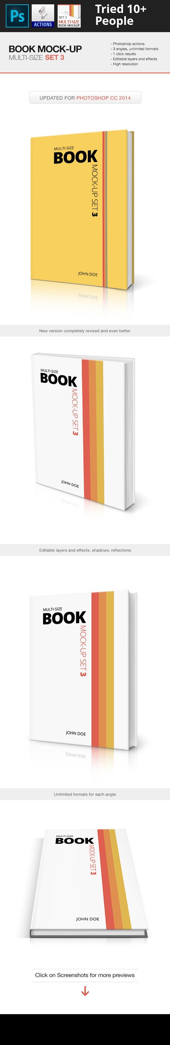 Multi Size Book Mockup Set 3 Business Card Template Word Ebook Design Book Presentation