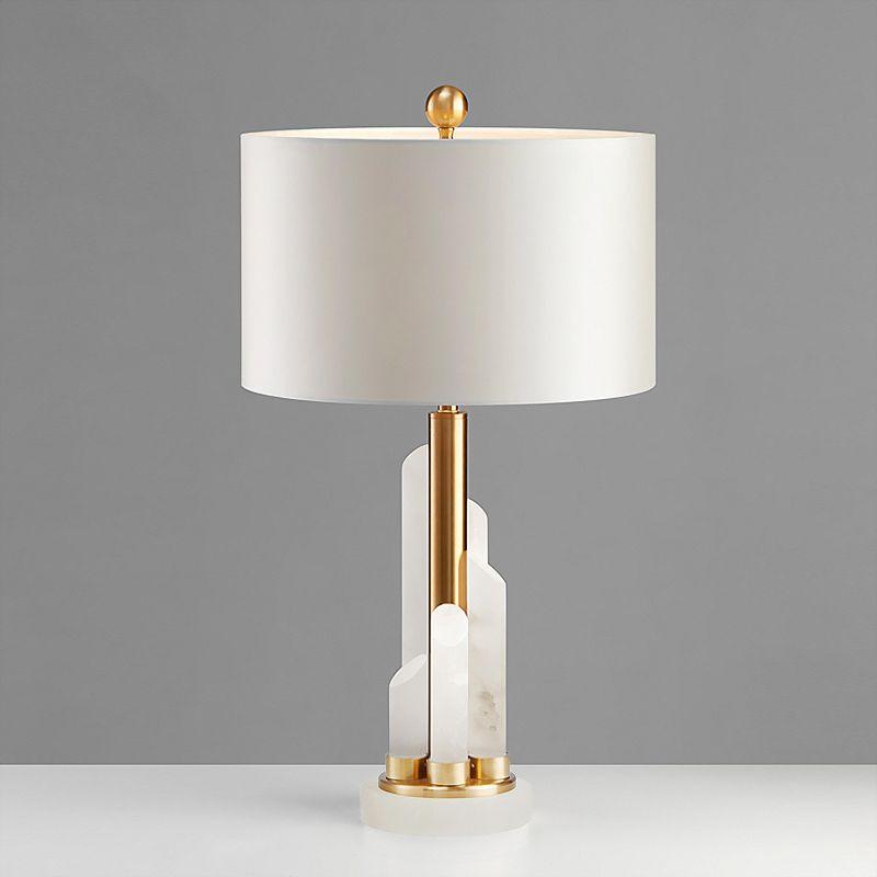 Modern Minimalist American Stone Pillar Cloth Lampshade Table Lamp Marble Decoration Living Room Bedroom Bedsi Table Lamps For Bedroom Table Lamp Bedroom Lamps