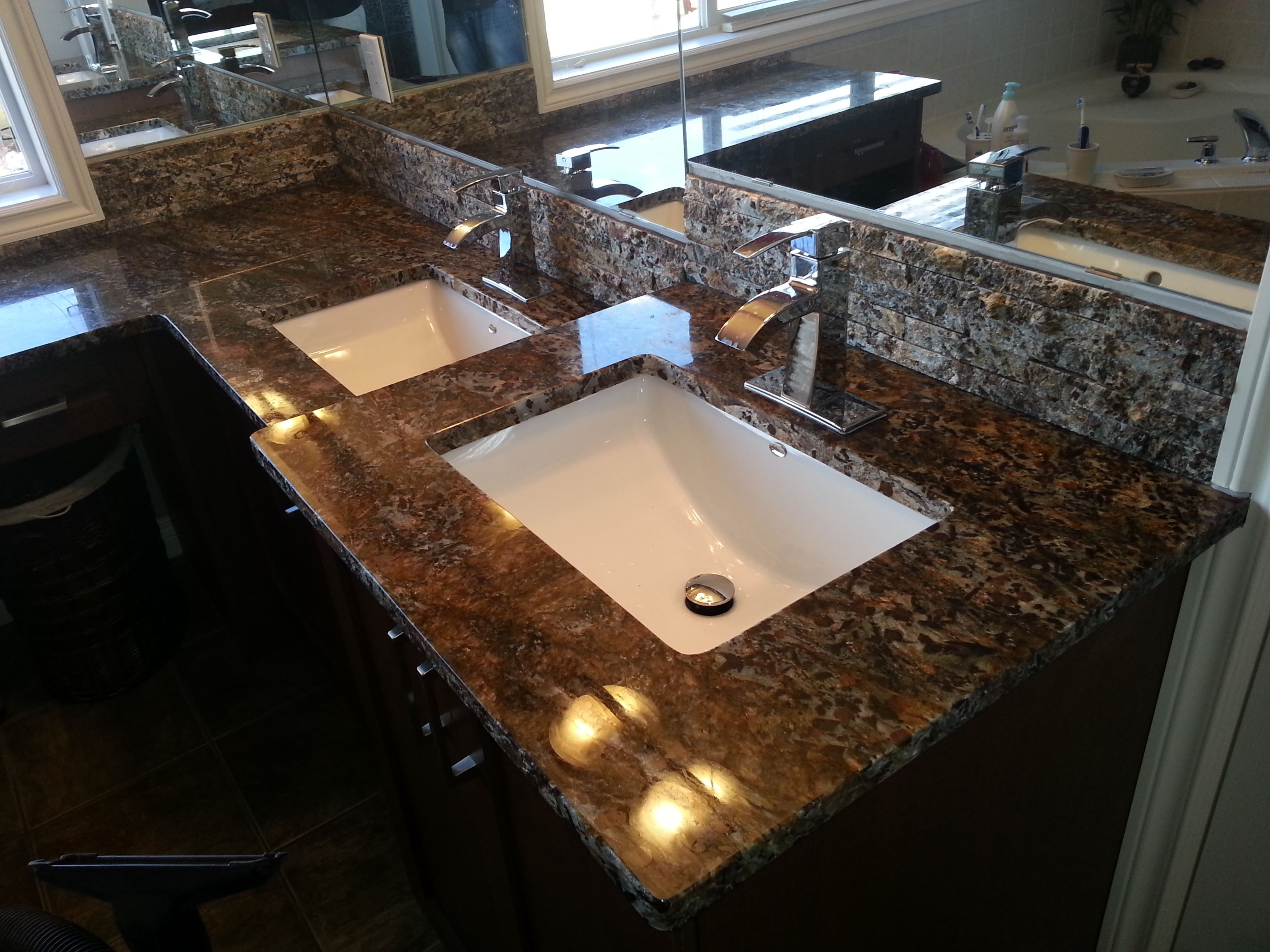 Orion Exotic Granite Vanity & Granite Tile Backsplash | Fireplaces ...