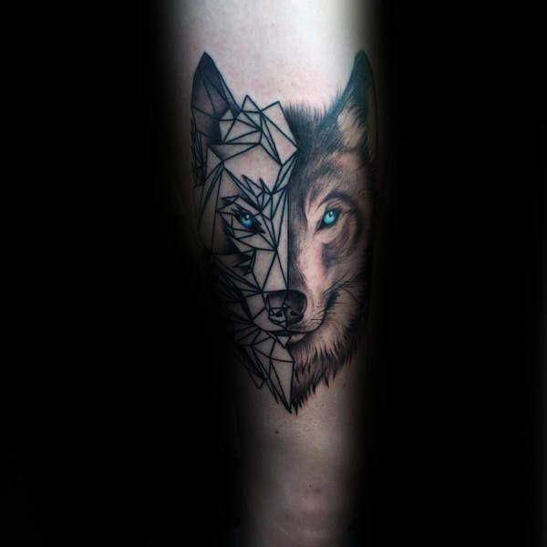 90 Geometric Wolf Tattoo Designs For Men Manly Ink Ideas Geometric Wolf Tattoo Tattoo Designs Men Wolf Tattoos