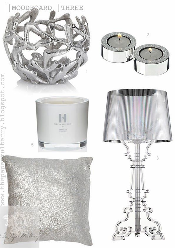 shimmering white bedroom accessories   Kelly Hoppen perfumed candles   metallic silver cushions  Kartell Bourgie. shimmering white bedroom accessories   Kelly Hoppen perfumed