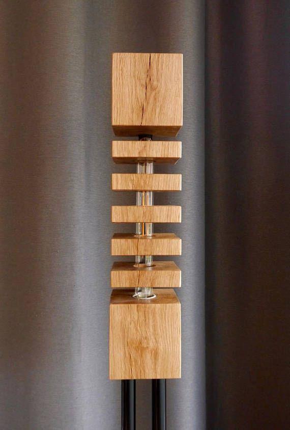 Moderne Massivholz Stehlampe Design No1 F Ls150 Mit Aluminiumstander Echtholz Eichenbalken In Den 5 Holzscheiben Versteckt Stehlampe Design Stehlampe Lampen
