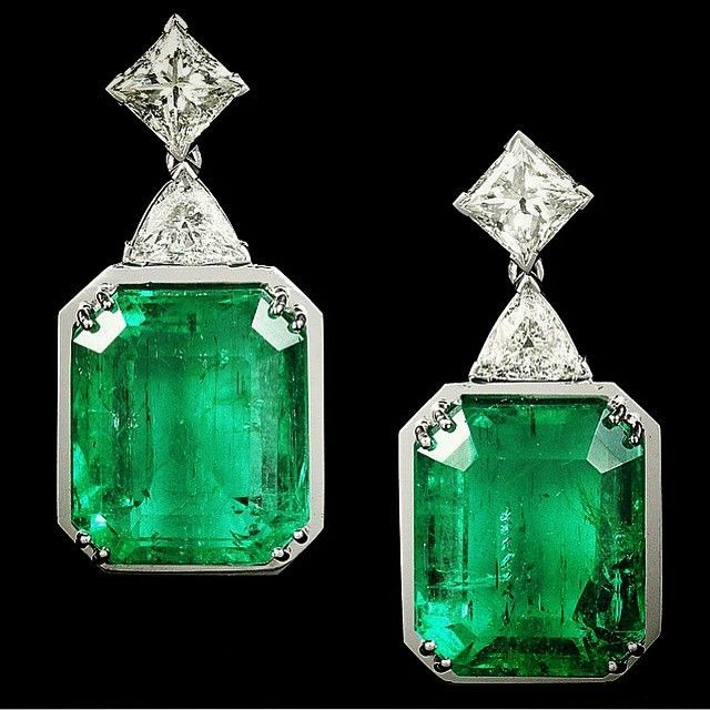 Art Deco Emerald Cut Earrings With Trillion Bale And Princess Trim Sophistication Personified