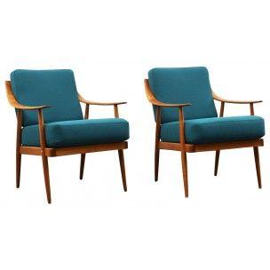 Fauteuil vintage turquoise - années 50 | fauteuil | Pinterest