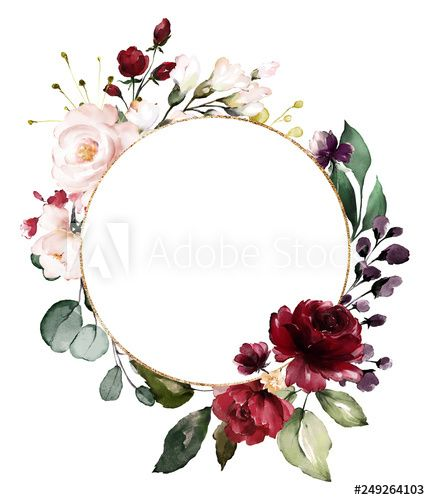 Photo of Card. Watercolor invitation design with burgundy and red roses, leaves. flower, background with floral elements , botanic watercolor illustration. Vintage Template. wreath, round frame – kaufen Sie diese Illustration und finden Sie ähnliche Illustrationen auf Adobe Stock