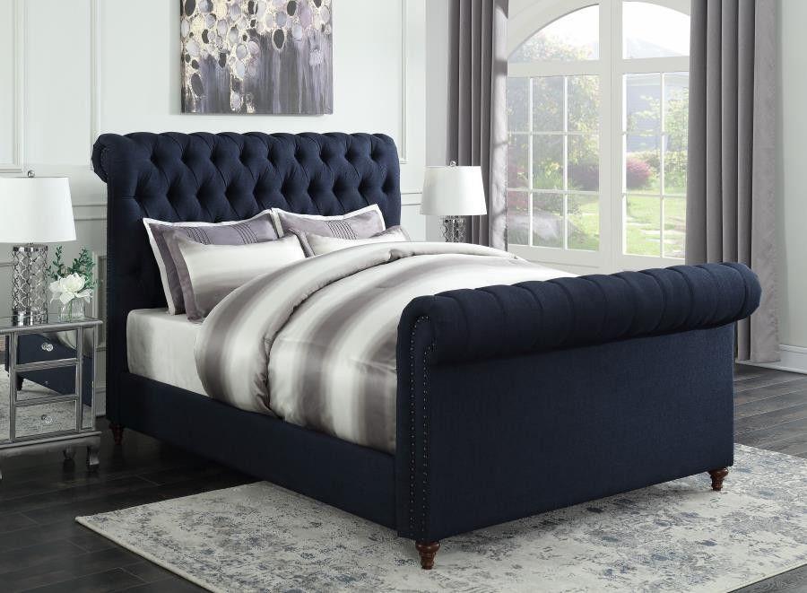 Gresham Upholstered Bed Gresham Navy Blue Upholstered Queen Bed