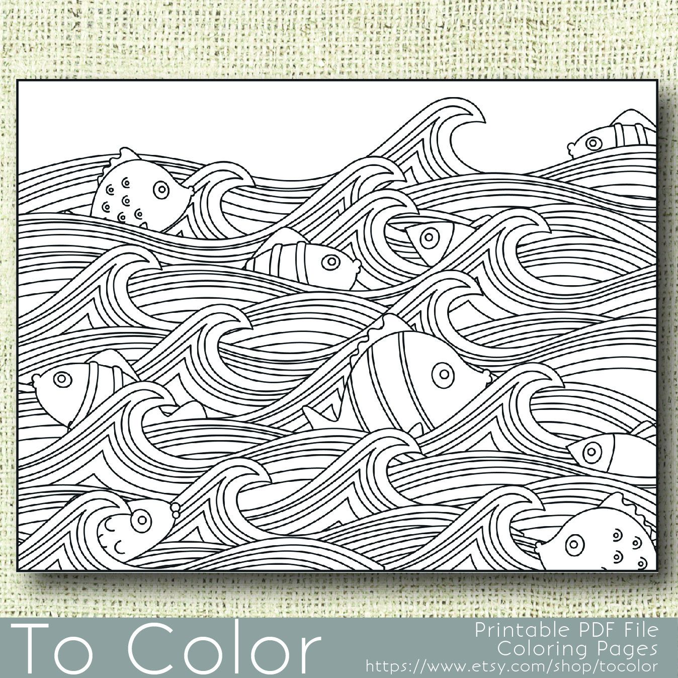 Items Similar To Printable Waves And Fish Coloring Page For Adults PDF JPG Instant Download Book Sheet Grown Ups Digital Stamp On