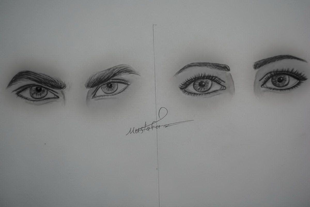 تعلم رسم عين الفتاة وعين الرجل بالرصاص وكيف تفرق بينهما Eye Drawing Drawings Art