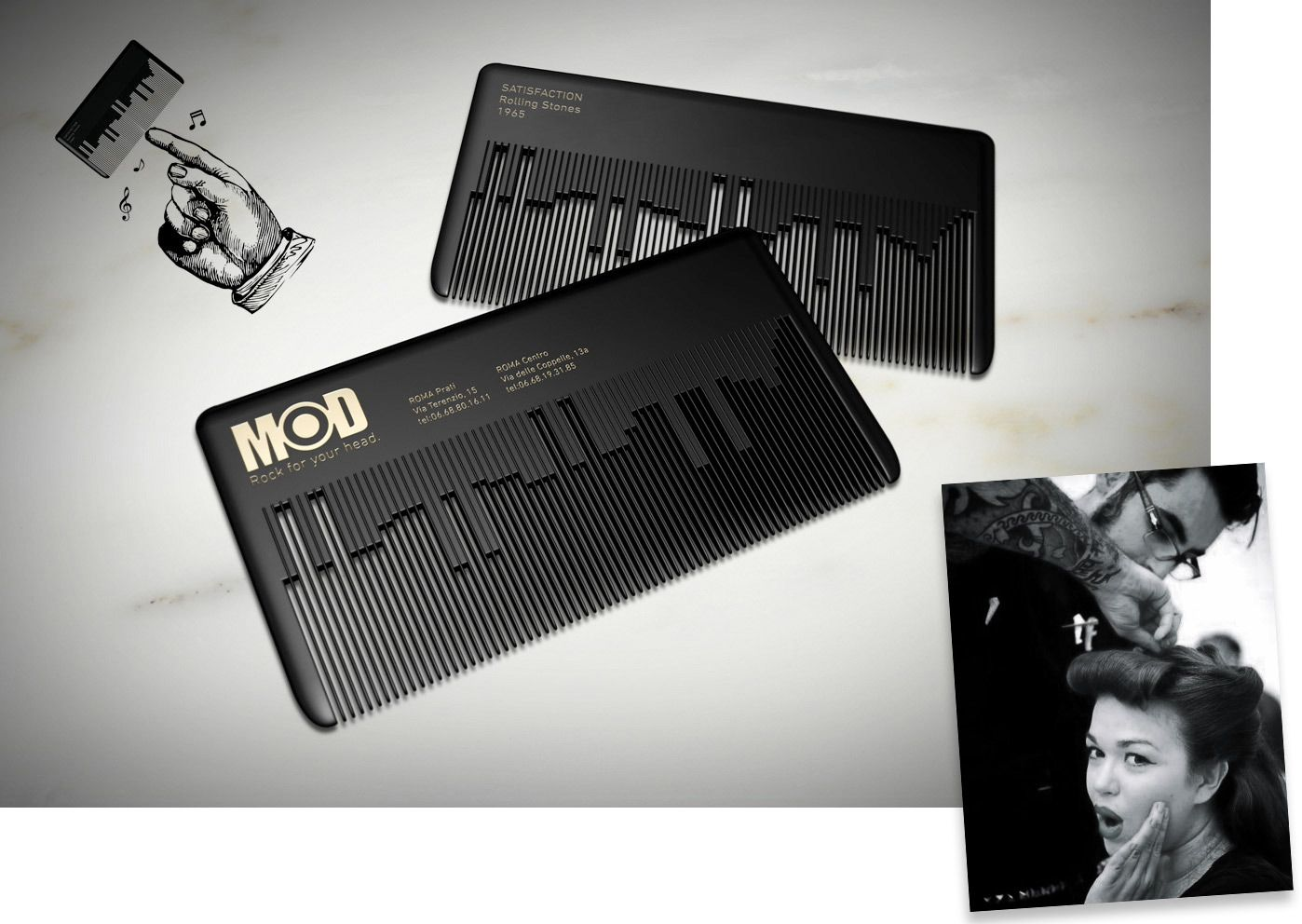 MODhair : Musical comb businesscard