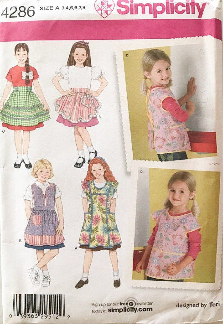 Simplicity 4286 Sewing Pattern Children Aprons Sizes 3-8 Full /& Half Styles