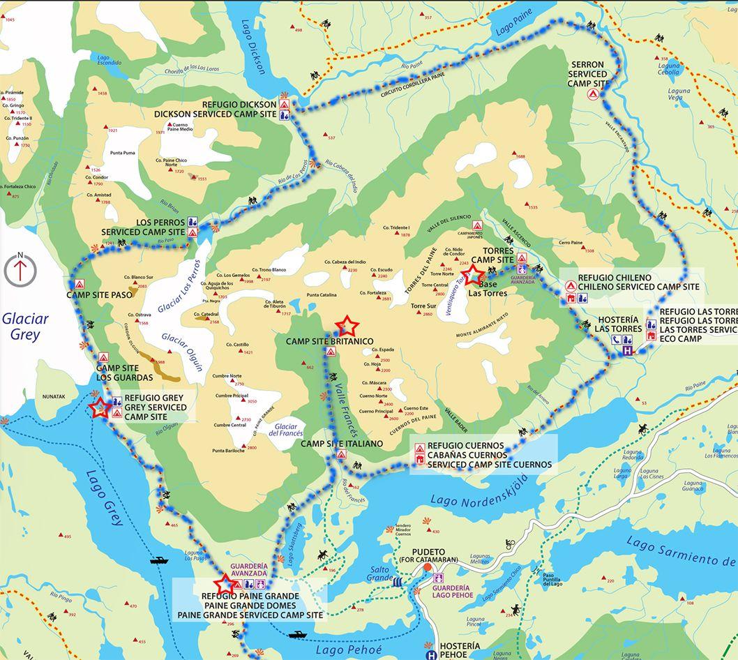 Torres Del Paine Circuit The Botched Q Trek Unique Maps