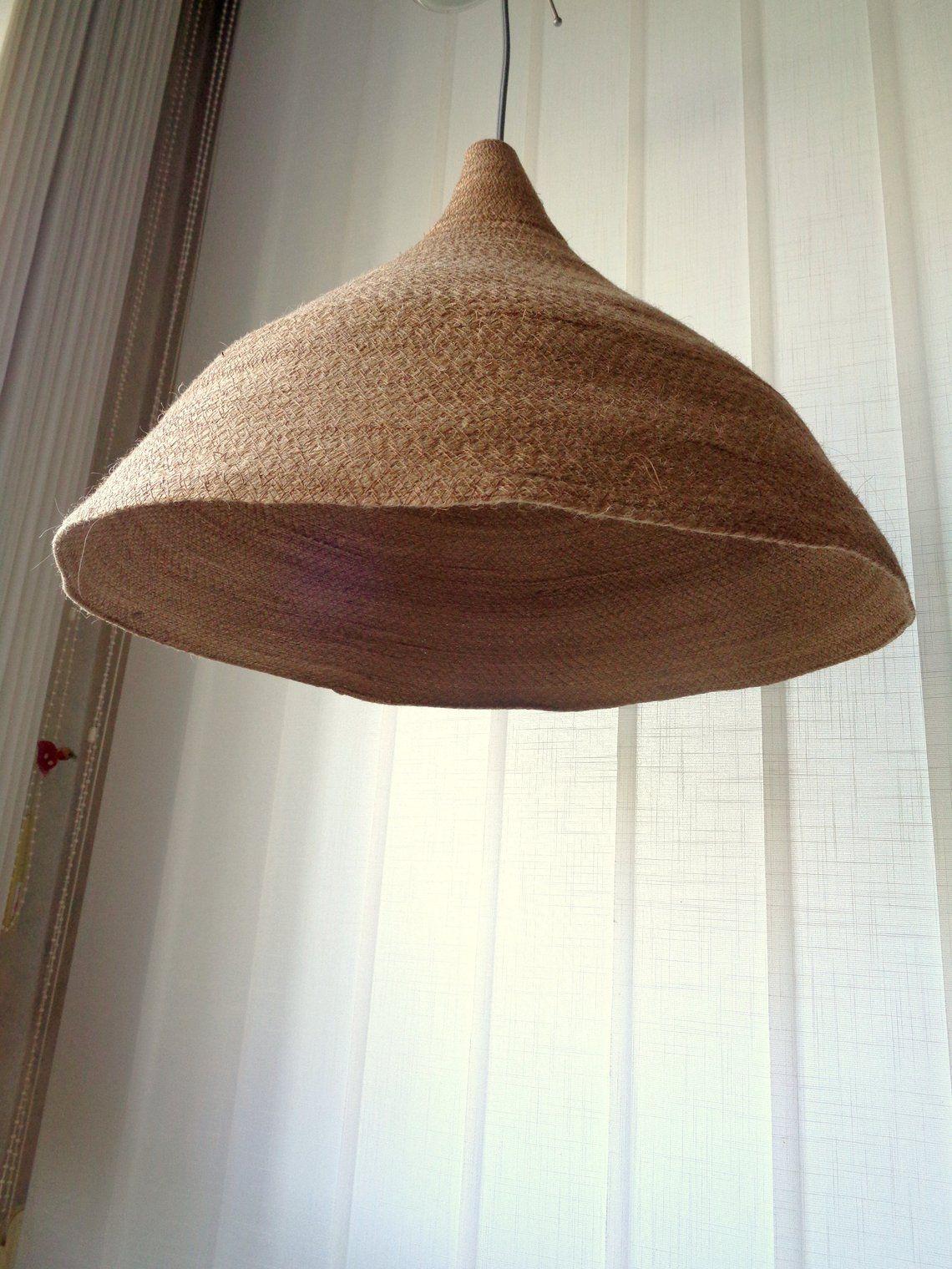 Large Woven Pendant Light Burlap Pendant Light Rustic Lampshade