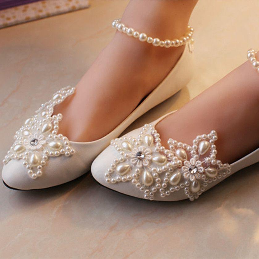 Pas Cher Dames Dentelle Blanche De Mariage Plat Chaussures