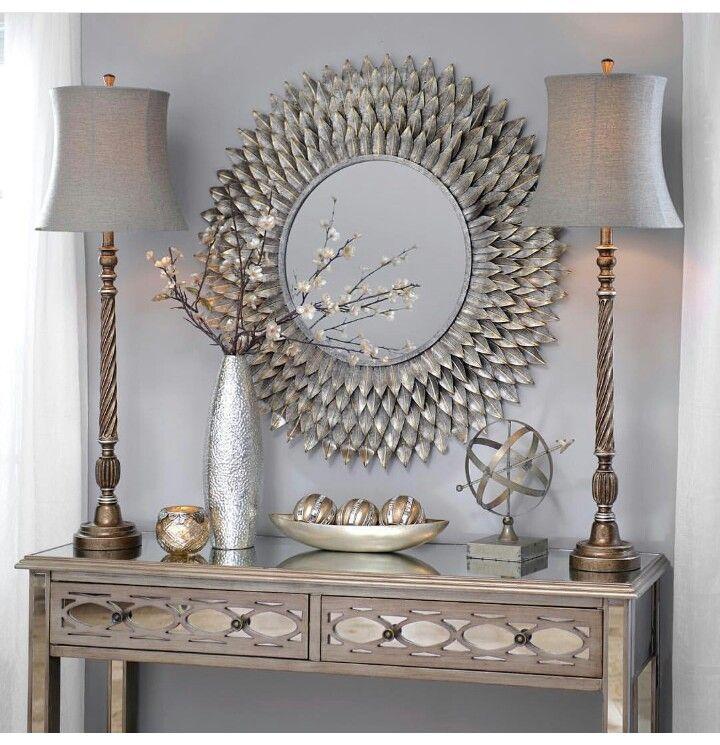 Beautiful Classy Grey Decor! Round Silver Mirror Over The