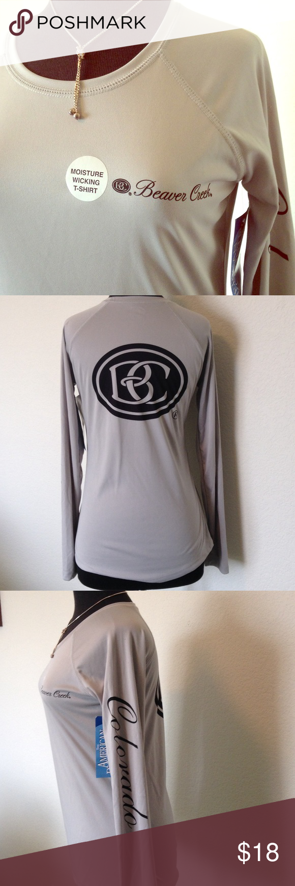 🆕NWT Moisture-wicking T-shirt in light grey This is a brand new with tags light grey AMERICAN BACKCOUNTRY moisture-wicking T-shirt with BEAVER CREEK CO markings. Great for skiing or to wear under wool clothing. American Backcountry Tops Tees - Long Sleeve