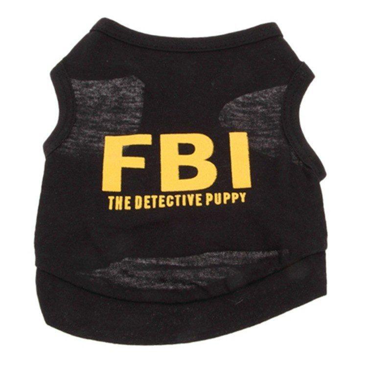 Populer Pet Puppy Pakaian Anjing Katun T Shirt Fbi Anjing Rompi