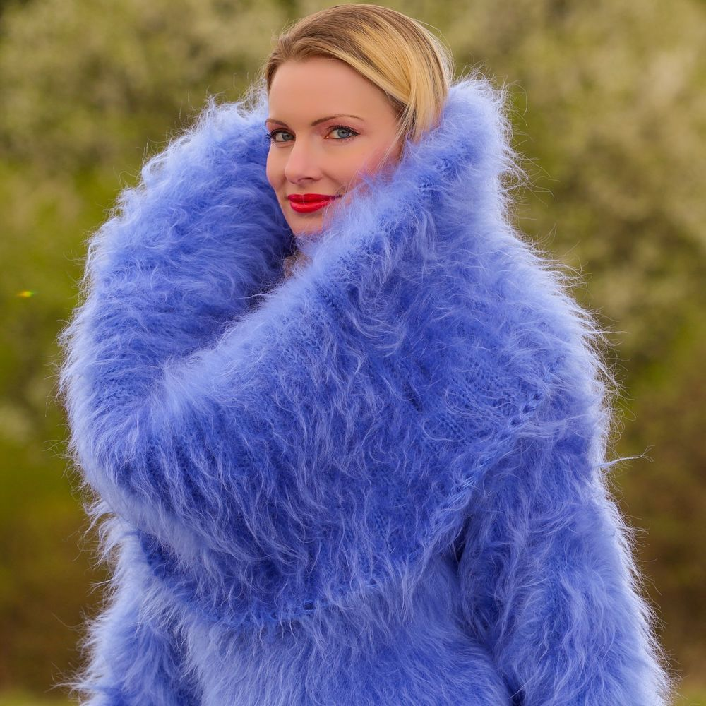 BLUE Hand Knitted Sweater Fuzzy Huge Cowlneck Soft Mohair Dress by ...