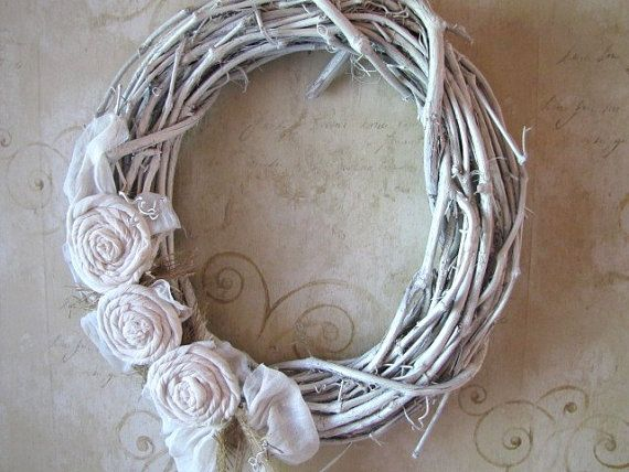 Shabby White Grapevine Wreath Grapevine Wreath Grape Vines Shabby Chic Ornaments