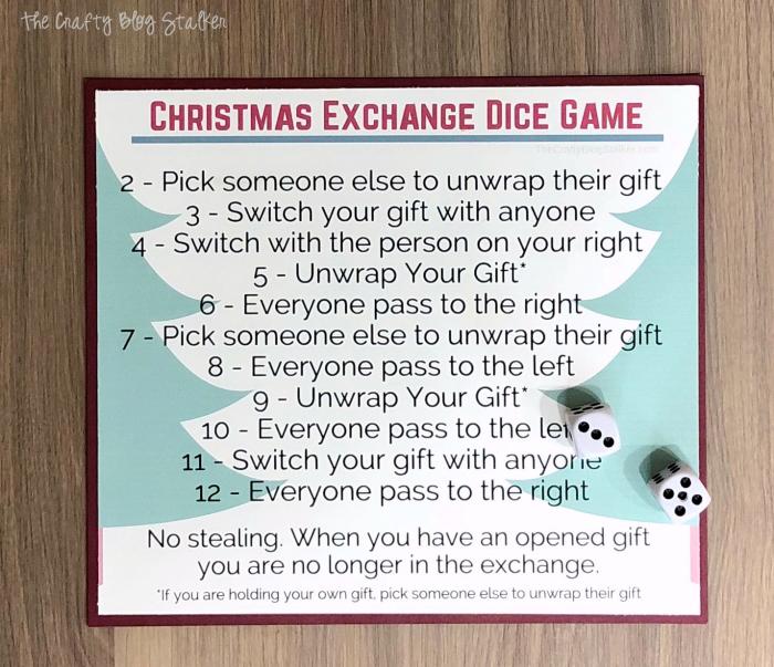 Christmas Dice Game Christmas gift exchange, Christmas