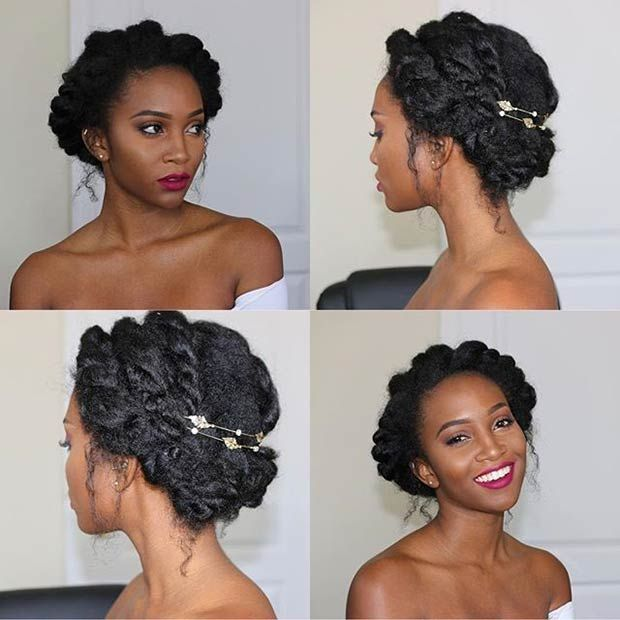 Wedding Hairstyle For Natural Curly Hair: 21 Chic And Easy Updo Hairstyles For Natural Hair