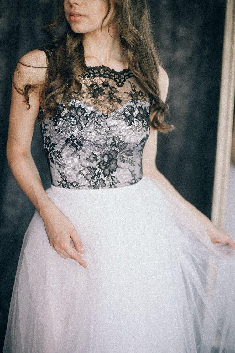 Black and white bohemian wedding dress