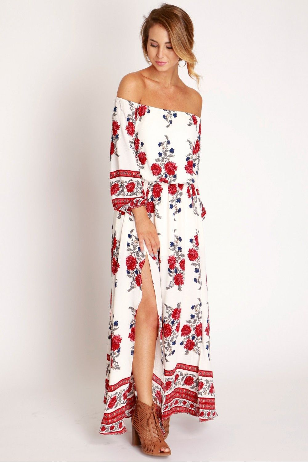 8c55585771 Off Shoulder Floral Maxi Dress | My Style | Floral maxi dress, Red ...