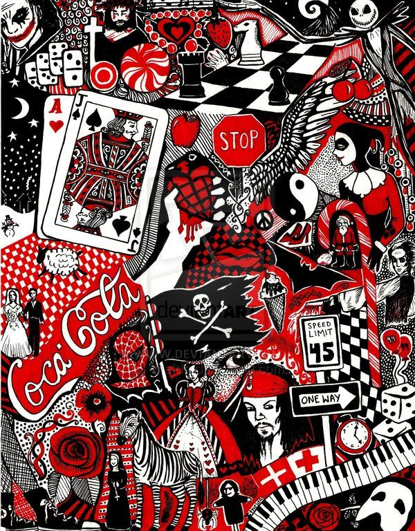 Red Black And White Doodle By Ithelda On Deviantart Black And White Doodle Red And White Wallpaper Red And Black Wallpaper