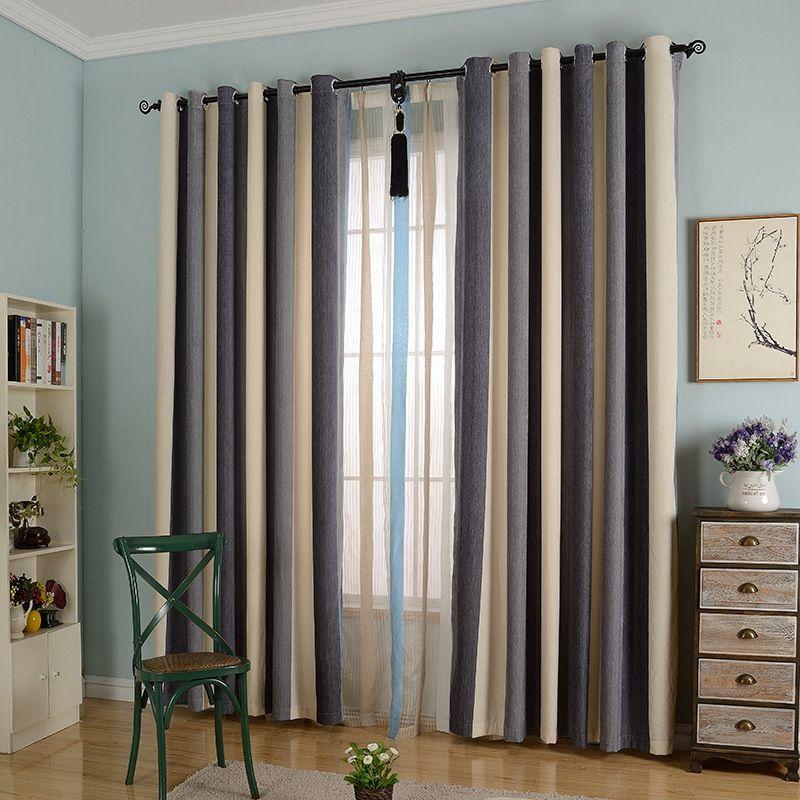 Byetee chenille listrado moderno tecido da cortina da - Cortinados modernos ...