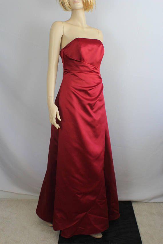 0560f05242e 90s prom dress formal red satin dress vintage 1990s ball
