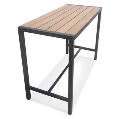 Metro Steel Outdoor Slat Top Rectangular Bar Height Table In