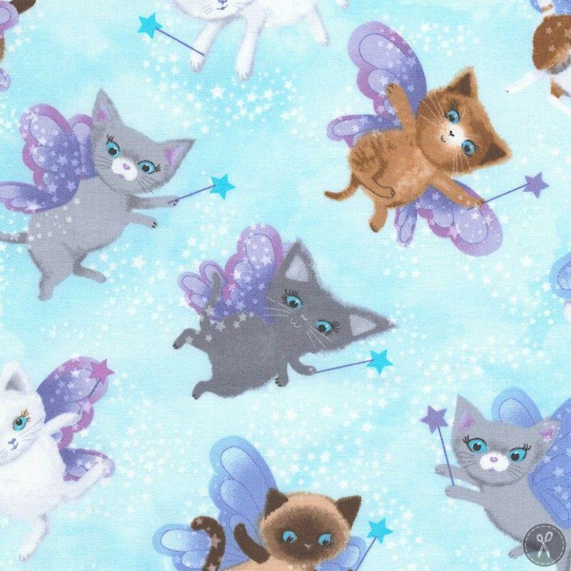Fairy Cats Sky Quilting Fabric Fabric Fabric Depot