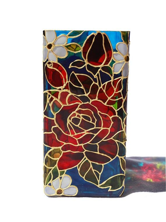 Hand Painted Glass Vase Candle Holder Stained Glass Floral Design
