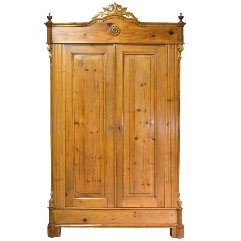 19th Century Louis Philippe Armoire In European Pine With Carved