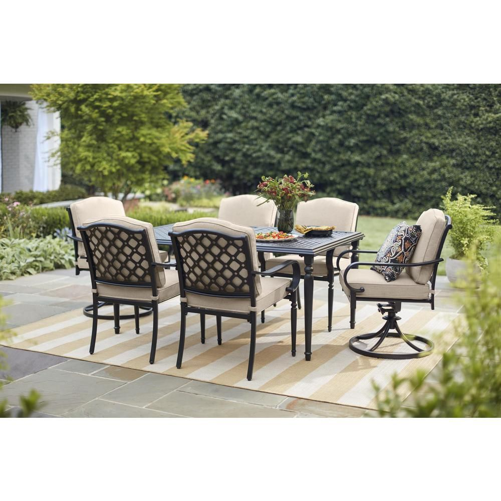 Hampton Bay Laurel Oaks Dark Brown 7 Piece Outdoor Dining Set With Beige Cushions 525 0200 Patio Dining Furniture Hampton Bay Patio Furniture Patio Dining Set
